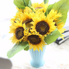 popular sunflower plastic buy cheap sunflower plastic lots from free shipping 35cm 1 bouquet lifelike artificial sunflower artificial plastic sunflower heads home party decorations