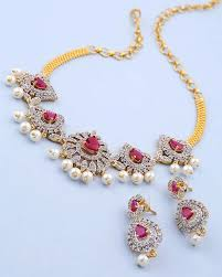 white necklace images Buy designer necklace sets gorgeous red and white stones studded jpg