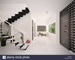 white floor plants modern contemporary staircase steps stock interior of modern entrance hall with staircase 3d render stock image