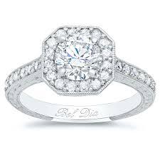 art deco square halo setting for round diamond or moissanite