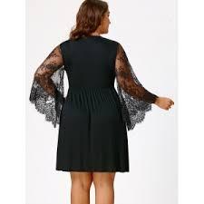 black 5xl plus size lace sleeve holiday dress rosegal com