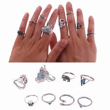 small fashion rings images 8 pcs set new fashion vintage stone antique silver rings color jpg