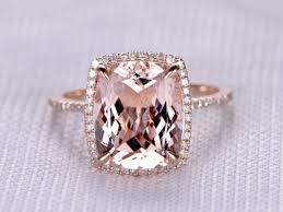 2 5 Cushion Cut Diamond Engagement Ring 4 To 5 Carat Cushion Morganite Ring 14k Rose Gold Diamond