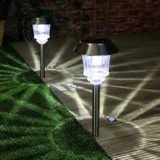 solar lights solar stainless steel stake lights high power leds 2 pack