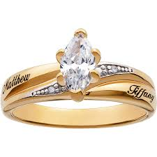 wedding ring names personalized two tone marquise cubic zirconium engagement ring