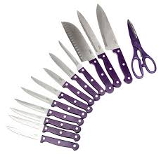 Ginsu Kitchen Knives Ginsu Purple Kitchen Knife Set Black Block