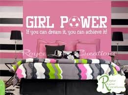 girls bedroom wall decals girl power soccer wall decal for teen girls bedroom 42x10
