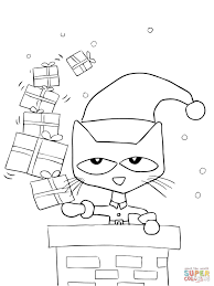 pete cat saves christmas coloring free printable
