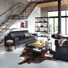 canap loft maison du monde canapé vintage 3 places en cuir noir colonel maisons du monde