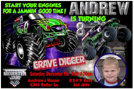 grave digger monster truck birthday party supplies grave digger camión invitaciones fiesta de cumpleaños monster jam