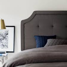 scooped square tufted upholstered headboard by structures linenspa