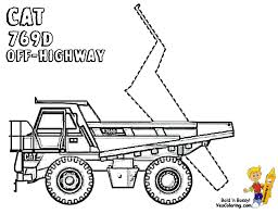 dirty dump truck coloring cat 769d off highway free rock hard