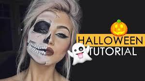 Half Skull Halloween Makeup by Halloween Tutorial Half Skull Makeup Youtube
