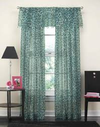 best cheetah sheer animal print curtain panel x jpg teal blue