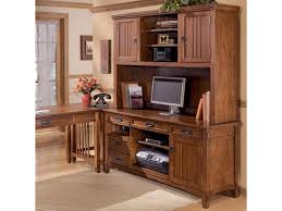 Mission Style Computer Desk With Hutch by Ashley Furniture Cross Island Office Mission Credenza Desk U0026 2
