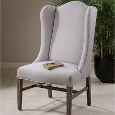 Linen Chair Slipcover Brown Pattern Linen Wingback Chair Slipcover With Curved Brown