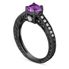 black and purple engagement rings amethyst engagement rings wedding bridal rings jewelry by garo