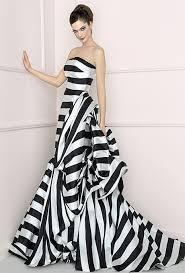 Black And White Wedding Dress Brides Antonio Riva Bold Black And White Stripe Strapless Mikado