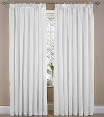Plain White Curtains Pencil Pleat Curtains Deco Plain Dyed Voile Pair Lined Ready Made