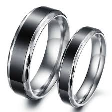 couple rings titanium images Personalized black silver edge titanium couple rings evermarker jpeg