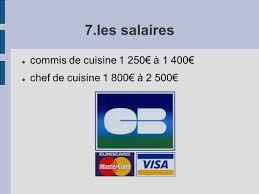 salaire d un commis de cuisine fiche métier le cuisinier ppt télécharger