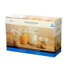 walmart kitchen canisters mainstays canister set clear 4pc walmart com