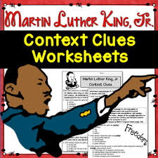 context clues worksheets martin luther king jr test prep by