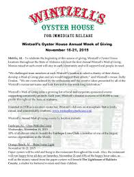 wintzell u0027s oyster house first annual week of giving wintzell u0027s