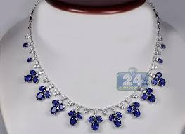 diamond necklace with sapphire images Blue sapphire necklace womens blue sapphire diamond necklace 14k jpg