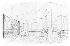 Interior Design Bedroom Drawings Sketch Stripes Bedroom Black And White Interior Design Stock