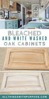 how to whitewash stained cabinets diy farmhouse look bleached and white washed oak cabinets