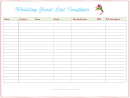 Wedding Invitation Excel Template 7 Free Wedding Guest List Templates And Managers