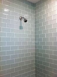 bathroom cute white glass subway tile at simplistic modern