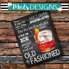 instant download old fashioned cocktail bar 8x10 sign dirty