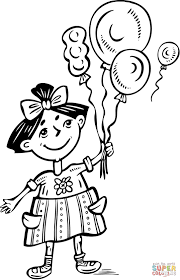 little holding balloons coloring page free printable