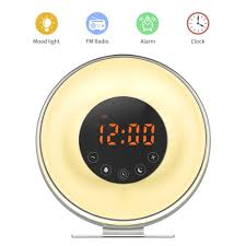 clock radio with night light wake up light sunbayouth sunrise alarm clock radio with 7 color