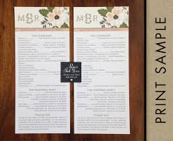 tea length wedding programs monogram wedding programs tea length with flowers custom printed
