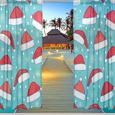 Santa Curtains Alaza Window Sheer Curtain Panels Christmas Decoration Blue Santa