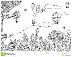 vector illustration zentangl on the mountain with balloons