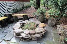 Backyard Flagstone Patio Ideas Rustic Patio Ideas Backyard Stone Patio With Fire Pit Ideas