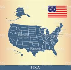 usa map with names usa map outline vector with us flag and states names stock vector