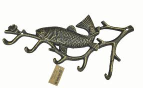 fish decorative wall hooks lulu decor cast iron decorative 5 fish hook use for keys aprons hand towels robes towel hook rack hanger antique gold