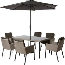 Outdoor Furniture Set Palermo 6 Seater Rattan Effect Garden Furniture Set Dinning Set