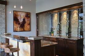 white wood wine cabinet wall mount wine storage home bar transitional with raised countertop