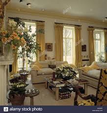 yellow curtains french windows in traditional living room with