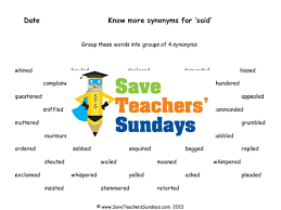synonyms for u0027said u0027 lesson plan and worksheet by