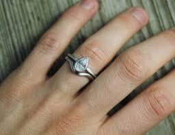 moissanite wedding sets 14k white gold pear shape moissanite ring solitaire pear cut