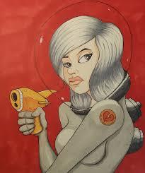 beautiful cartoon women art portrait of a beautiful cartoon space girl pinup with silver hair