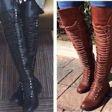s boots lace up low heel the knee lace up bandage thigh high combat low heel