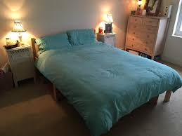 pine wooden double bed frame mattress included in brighton